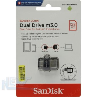 Флешка (Flash-drive) USB 3.0/microUSB 128GB, SanDisk Dual Drive Ultra, 150/40 Мб/с, пластик, серая