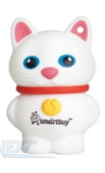 Флешка (Flash-drive) USB 2.0, 32GB, SmartBuy Catty, 15/5 Мб/с, резина, белая