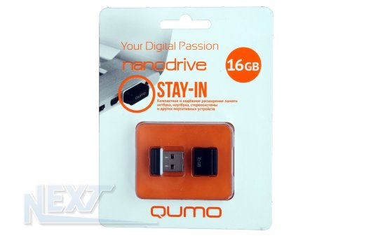 Флешка (Flash-drive) USB 2.0, 16GB, Qumo Nano, 18/10 Мб/с, пластик, черная