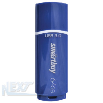 Флешка (Flash-drive) USB 3.0, 64GB, SmartBuy Crown, 80/10 Мб/с, пластик, синяя