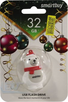 Флешка (Flash-drive) USB 2.0, 32GB, SmartBuy Polar Bear, 15/5 Мб/с, резина, белая